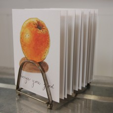 """Orange You Glad"" Produce Print Hand Lettered Note Card for sale at thesimplepalette.etsy.com"